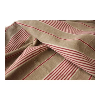 Antique French Ticking Fabric Primitive Linen Old Early C1850 Distressed For Sale