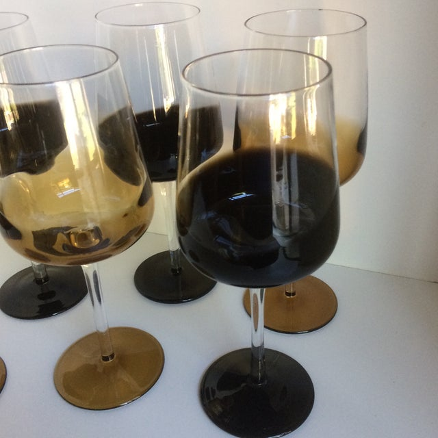 Mid-Century Modern Style Reverse Ombré Black & Amber Brown Wine Glasses - Set of 6 For Sale - Image 12 of 13