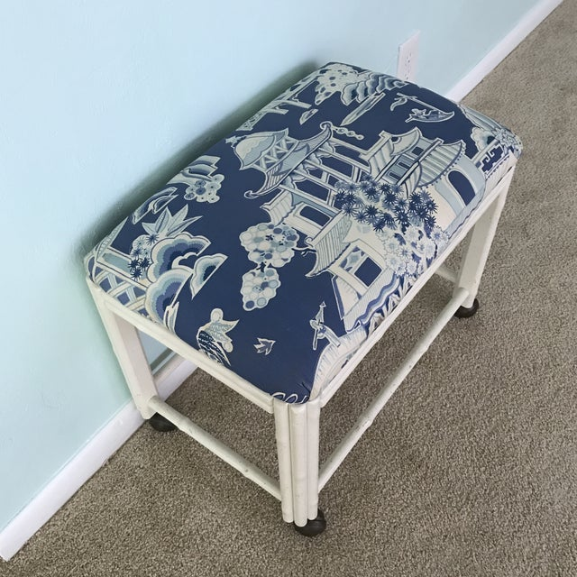 Vintage Drexel Faux Bamboo Vanity Stool For Sale - Image 9 of 9
