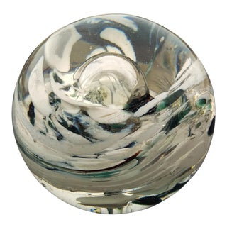 Early Hat Art Studio White Bubble Swirl Glass Paperweight Signed