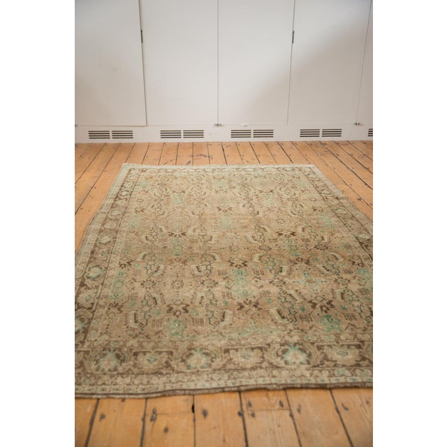 "Green Vintage Distressed Shiraz Carpet - 5'4"" X 8'3"" For Sale - Image 8 of 12"