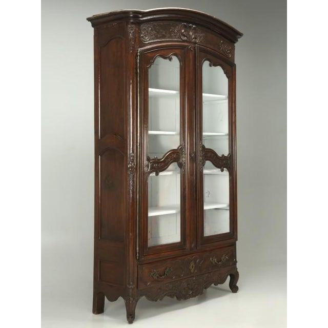 Late 18th Century Antique French Walnut Armoire or China Cabinet For Sale - Image 5 of 13