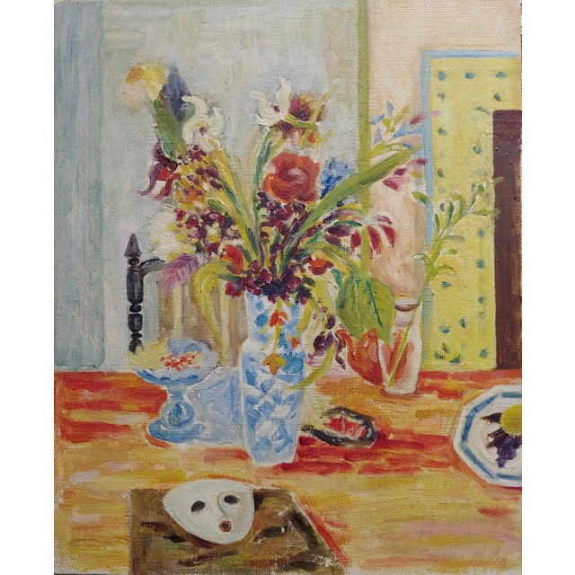 Jules Cavailles -Still Life of Flowers and a Mask -Study Oil painting-1956 Post impressionist oil painting on canvas board...