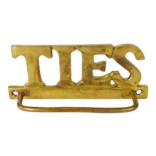 Vintage Solid Brass Ties Rack Hanger Wall Mount Decor For Sale