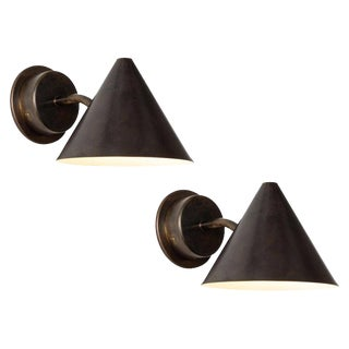 Hans-Agne Jakobsson 'Mini-Tratten' Patinated Brass Outdoor Sconces For Sale