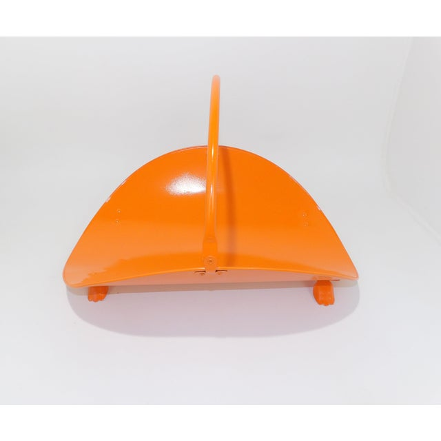 Orange Metal Fireplace Fire Wood Holder For Sale - Image 4 of 9