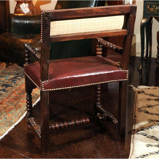 Bobbin Turned Walnut Armchair with Red Leather Upholstery For Sale - Image 5 of 9