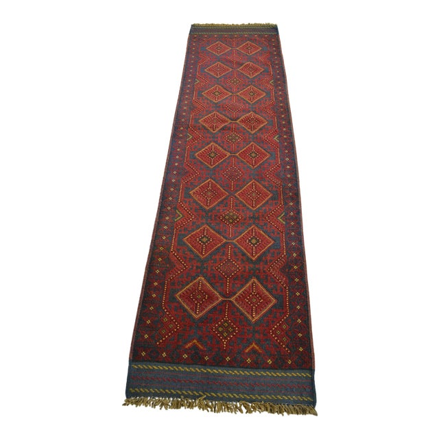 Turkish Tribal Handmade Brown and Navy Wool Rug Runner For Sale