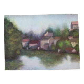 European Village Seascape Painting
