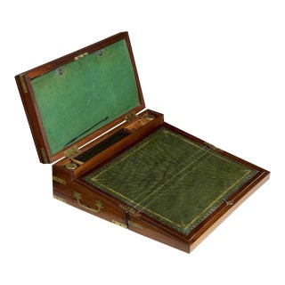 "Circa 1810 English Georgian Mahogany ""Captain's Box"" Writing Slope Desk"
