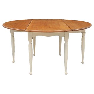 Queen Anne Style Pine Drop Leaf Dining Table For Sale