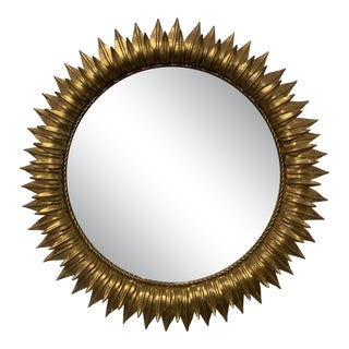 Gold Metal Sunflower Mirror For Sale