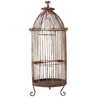 French Twisted Wrought Iron Standing Bird Cage For Sale