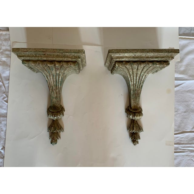 1950s Vintage Italian Carved and Painted Wood Corbel Brackets - a Pair For Sale - Image 10 of 12