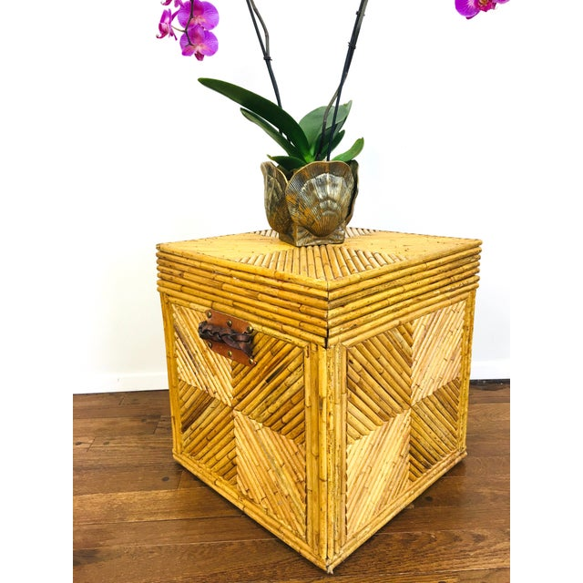 Vintage Natural Pencil Reed Rattan Gabriella Crespi Style Trunk Chest Table For Sale - Image 4 of 9