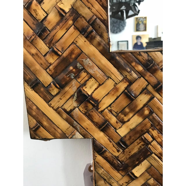 Mid Century Herringbone Pattern Woven Rattan/Bamboo Wall Mirror For Sale In Los Angeles - Image 6 of 7