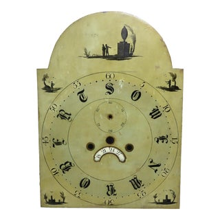 Early 1800s Antique Memorial Grandfather Clock Dial For Sale