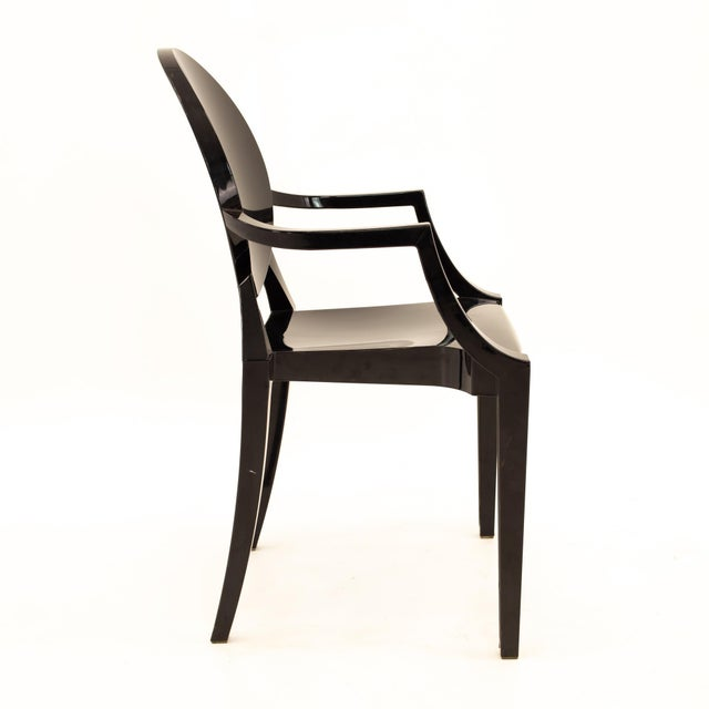 Mid 20th Century Kartell Mid Century Black Acrylic Ghost Dining Chairs - Set of 4 For Sale - Image 5 of 11