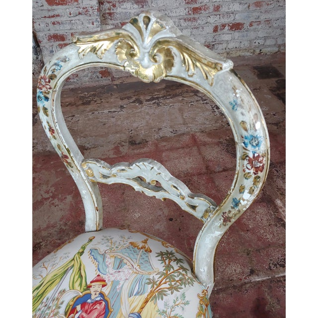 18th Century Venetian Painted and Upholstered Side Chair For Sale In Los Angeles - Image 6 of 11