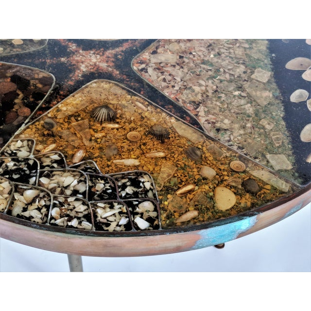 Green 1957 Mid-Century Modern Inlaid Copper, Resin, Shell and Stone Coffee Table For Sale - Image 8 of 13