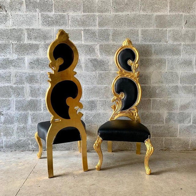 Baroque Italian Baroque White Leather and Gold Leaf Finish Chairs- A Pair For Sale - Image 3 of 12