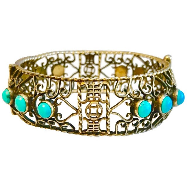 Gold 1940 Chinese Gold, Sterling and Turquoise Bangle For Sale - Image 8 of 8