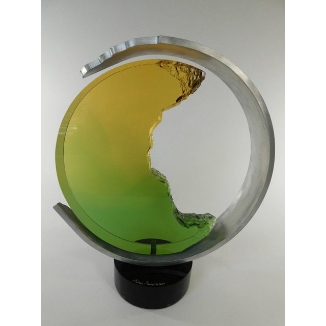 Beautiful Michael George Moonstruck Sculpture. Famed Lucite Sculptor Michael George created this sculpture in 2004. Signed...