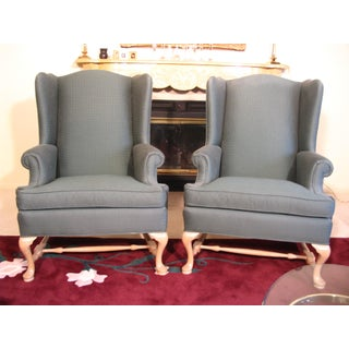Green Ethan Allen Wing Chairs - Pair Preview