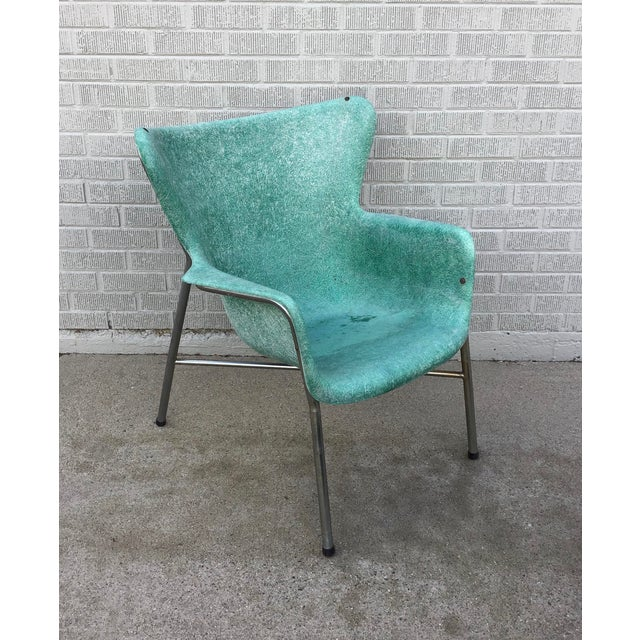 Mid Century Modern Fiberglass Aqua Green Chair With Chrome Legs For Sale - Image 11 of 13