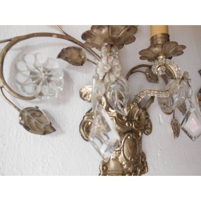 French French Maison Bagues Style Silver Floral Beaded Sconces For Sale - Image 3 of 10