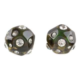 Angela Caputi Italy Clip on Earrings Olive Green Resin Beads Rhinestones Paved For Sale