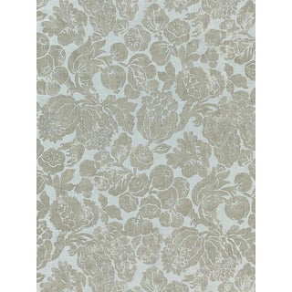 Sample, Scalamandre Elsa Linen Print, Silver on Skylight Fabric For Sale