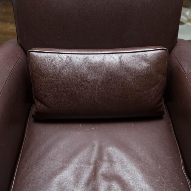Holly Hunt Brown Leather Swivel Chairs For Sale - Image 10 of 11
