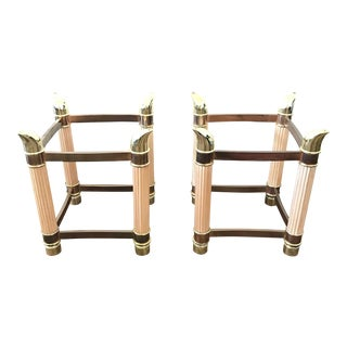 1980s Hollywood Regency Side Table Bases With Tusk Details - a Pair For Sale
