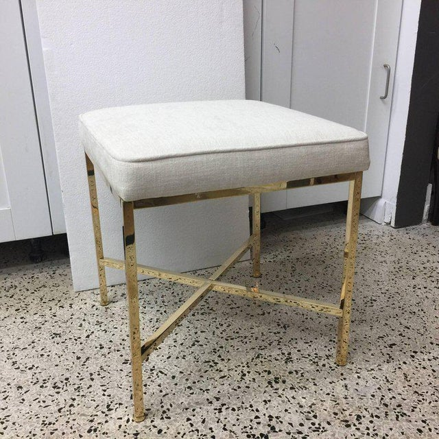 This Classic vintage brass X-frame base bench by Harvey Probber has been polished and reupholstered.