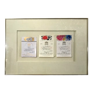 Vintage Rothschild Framed Champagne Labels Signed Dali Miro & Chagall For Sale