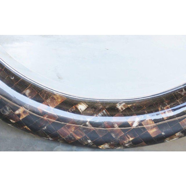Glass Enrique Garcel Tassellated Horn Console and Mirror For Sale - Image 7 of 8