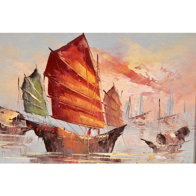 Mid 20th Century Vintage Coastal Nautical Sailboat Oil Painting For Sale - Image 5 of 11
