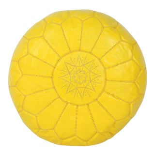 Modern Moroccan Yellow Pouf For Sale