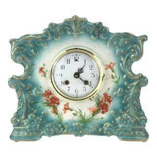 Antique Porcelain Mantle Clock For Sale