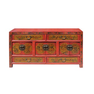 Chinese Distressed Brick Red Graphic Low Tv Console Table Cabinet For Sale