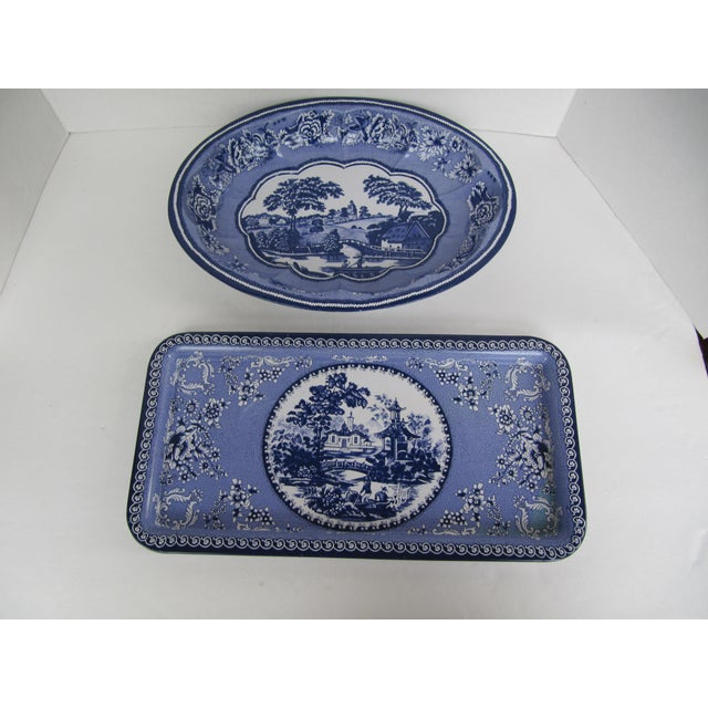 2000s Metal Blue & White Transferware Tray & Serving Bowl For Sale - Image 5 of 5