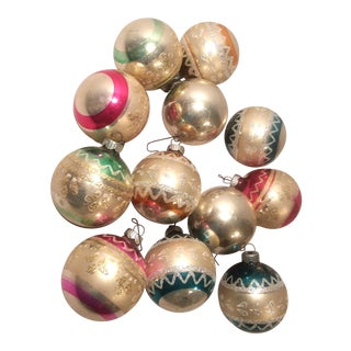 Vintage Shiny Brite Fancy Glass Christmas Ornaments - Set of 12 For Sale