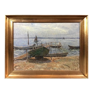 Olaf Viggo Peter Langer, Coastal Scene with Boats, Dated 1916, Danish For Sale