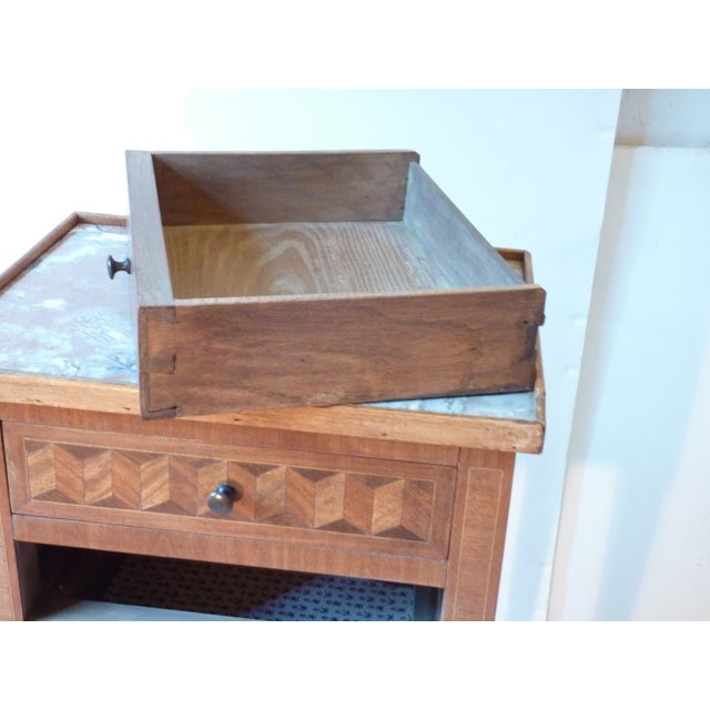 French Marquetry Inlaid Night Table For Sale - Image 3 of 9