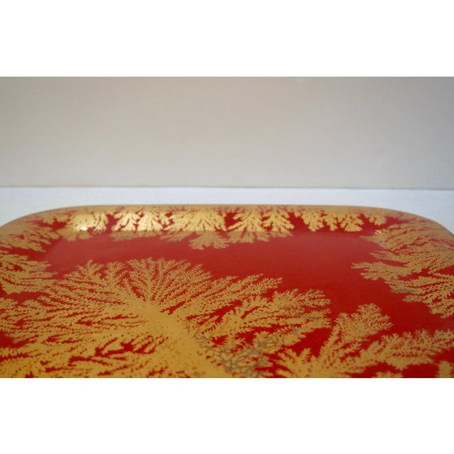 Mid 20th Century Fornasetti Red and Gold Serving Tray For Sale - Image 5 of 7
