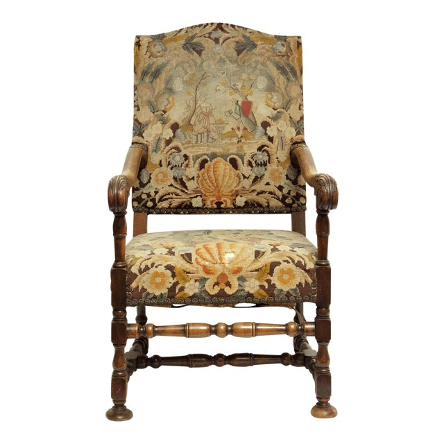 French Louis XIII Style Walnut Armchair - Image 1 of 3