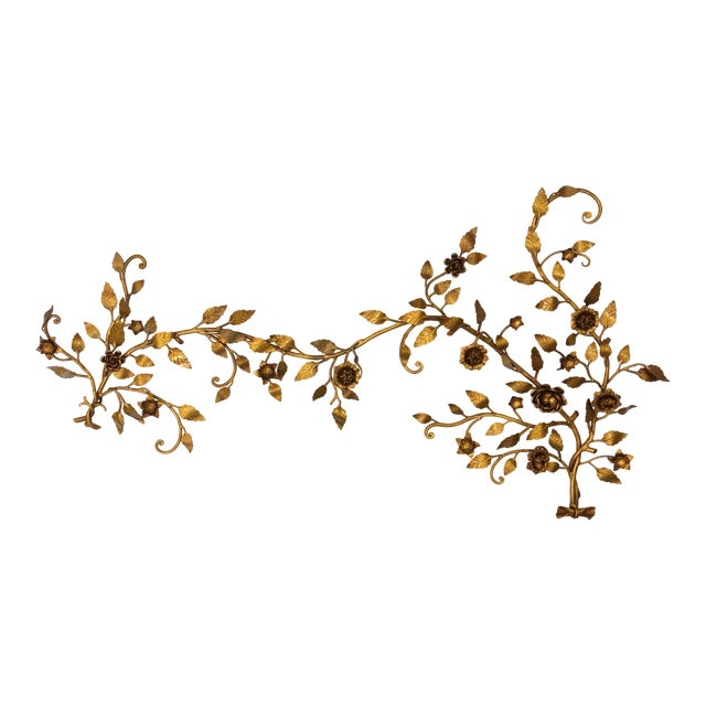 1960s Hollywood Regency Gilt and Tole Painted Metal Wall Decoration ...