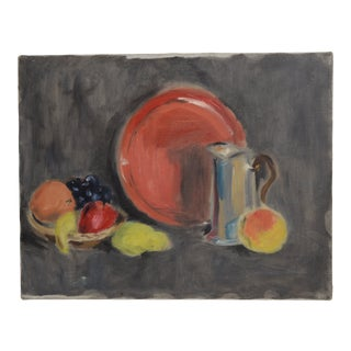 Vintage Cubist Still Life Oil Painting Original Art Fruit Bowl For Sale
