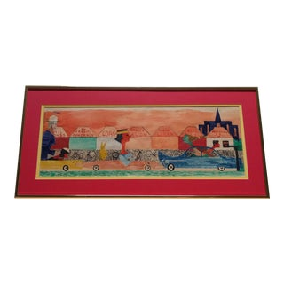 """Late 20th Century """"Envy"""" Folk Art Style Watercolor Painting, Framed For Sale"""